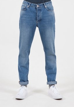 Centre Front Tapered Slim Jeans in Vintage Wash