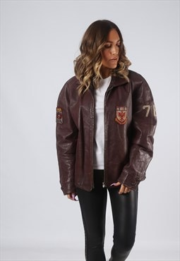 RARE Leather Jacket Bomber Oversized VARSITY UK 16 (GK7F)