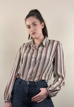 Womens Vintage 80s blouse with shoulder pads stripy shirt