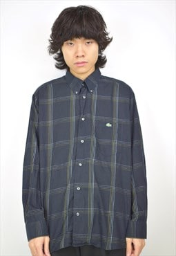 Vintage 90s Lacoste Navy Plaid Button Up Shirt