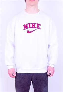 Vintage 90s Nike Spell Out Sweatshirt White Large