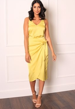 Satin Leopard Print Wrap Over Curve Hem Midi Skirt Yellow