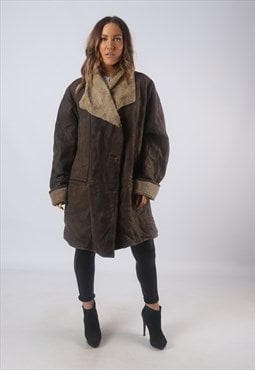 Vintage Suede Sheepskin Shearling Coat UK 20 XXXL  (B3G)