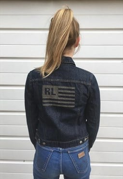 Womens Vintage 90s ralph lauren jacket denim silver flag