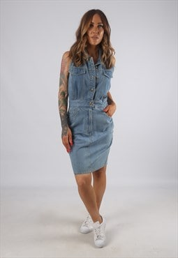 Vintage Denim Dress Fitted Sleeveless Knee Short UK 10 (H2E)