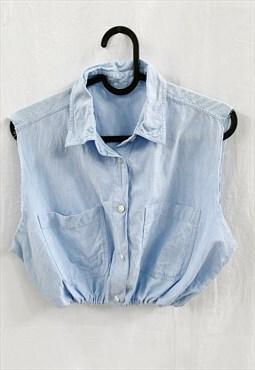 Vintage 90s Reworked Baby Blue denim Boheme blouse crop top