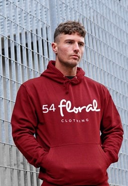 54 Floral Large Graphic Hoody - Royal Red