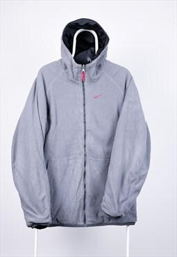 Vintage Nike Jacket Reversible Fleece Grey Black Large