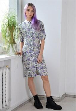 Vintage 90s White Purple Flower Summer Dress