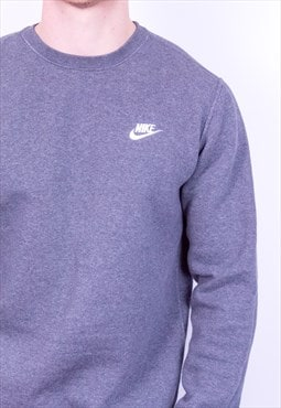 Vintage 90s Nike Spell Out Swoosh Sweatshirt Grey Medium