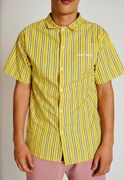 Handmade Short Sleeved Shirt in Yellow with Stripes Retro