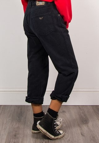 90'S VINTAGE HIGH WAIST BLACK DENIM MOM JEANS