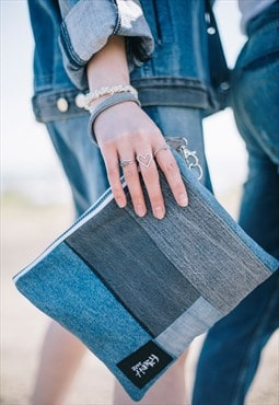 Clutch Bag In Panelled Denim