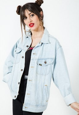 Vintage 80s Lee Basic  Light Wash Denim Jacket / 7498