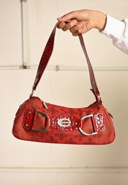 Vintage Y2K retro Kitsch monogram shoulder bag in red
