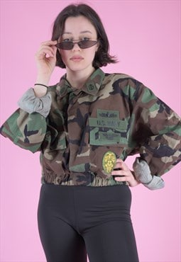 Vintage Reworked Army Jacket in Camo Print with Patches