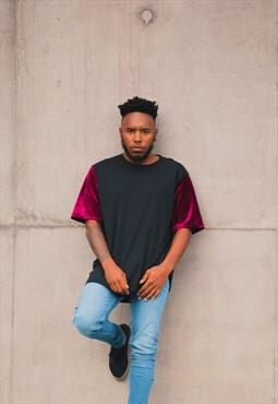 OC T-shirt - Maroon Velour Sleeves