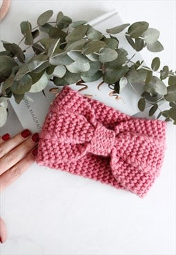 Pink Ribbed Knitted Woollen Knotted Headband