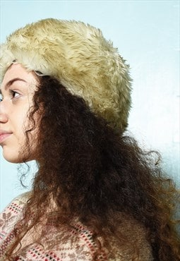 Vintage 70s Boheme Shaggy faux fur winter fury hairy hat