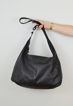Vintage Le Sac Leather Slouch Shopper Black