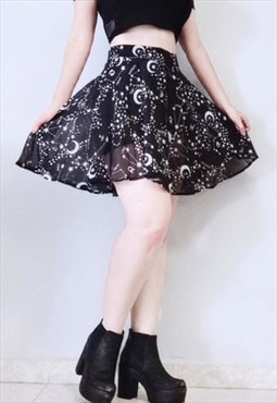 Star Printed Pleated Gothic Skirt