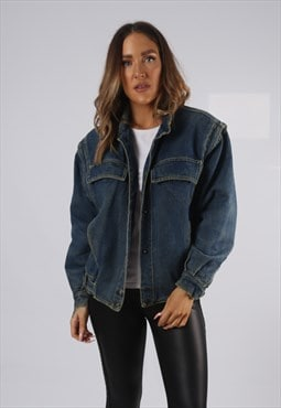 Vintage Lined Denim Jacket Oversized Fitted UK 12 (AP1U)