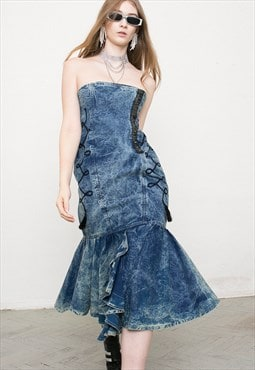 Vintage Denim Midi Ruffled Washed Out Blue Dress Sleeveless
