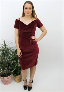 Vintage 1980s Burgundy Velvet Off-the-Shoulder Dress