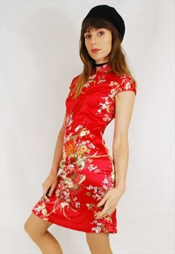 Vintage Y2K Red Oriental Satin Floral Chinese Dress Red