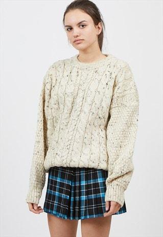 Vintage Oversized Beige Cottage Knitwear Wool Jumper Sweater by Vintage Lady
