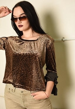 Vintage Y2K retro animal print velvet blouse top