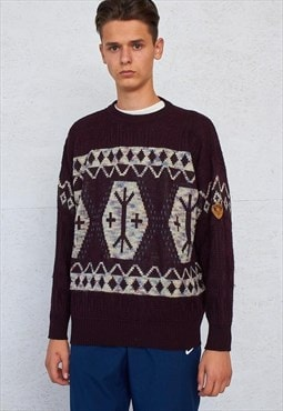Vintage Burgundy HUGO BOSS Round Neck Christmas Knit Jumper