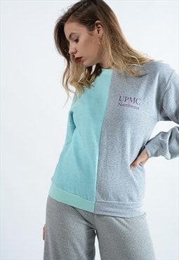 Vintage Rework Half Sweatshirt in Grey