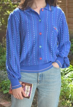 80s Vintage Blue & Green Button Down Pattern Knit Jumper