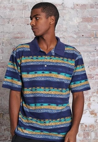 Vintage Fila Pattern Polo Shirt Blue