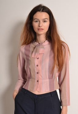 Vintage 80s Striped Blouse with Bow Tie in Dusky Pink