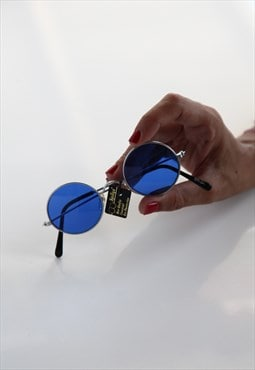 Vintage Silver Frame, Blue Round lenses. Made in Greece