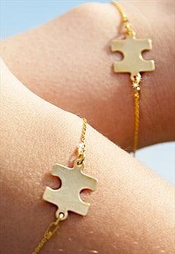 Gold Over Sterling Silver Puzzle Bracelet