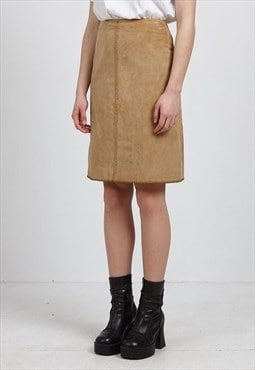Vintage Beige Suede Mini Skirt
