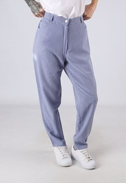 High Waisted Trousers Checked Wide Tapered UK 12  14 (GJ4C)