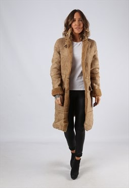Sheepskin Suede Leather Shearling Coat UK 12 Medium (LJ3K)