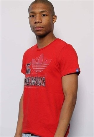 Vintage Adidas Spell Out Big Logo T-Shirt Red