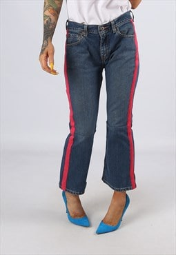 KICK FLARE Side Stripe Reworked Jeans Flared UK 12 (H31D)