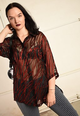 Vintage 90s grunge sheer velvet detailed tunic top