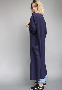 Vintage 80's Oversize Navy Blue Summer Trench Overcoat