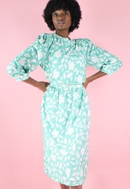 Vintage 90s Dress Floral Midi Turquoise Mint