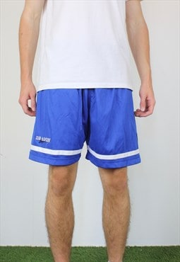 Vintage Dragon Sport Shorts in Blue with Logo, Drawstring