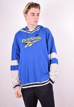 Reebok Mens Vintage Hoodie Jumper XL Blue 90s