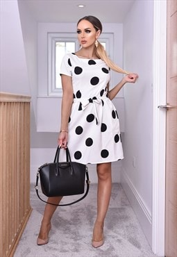 Sophie Short Sleeve White Polka Dot Tulip Dress