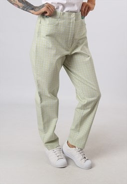 High Waisted Trousers Print Checked Wide Tapered 14  (H82L)